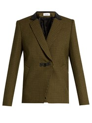 Courreges Hound's Tooth Notch Lapel Wool Jacket Green Multi