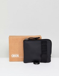 Asos Design Zip Around Wallet In Black With Strap Detailing