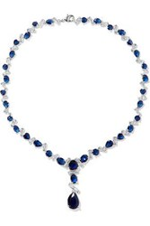 Cz By Kenneth Jay Lane Silver Tone Crystal Necklace Blue
