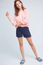 Anthropologie Buttoned High Rise Shorts Navy