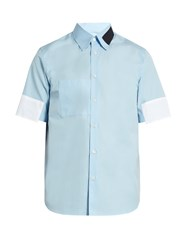 Marni Contrast Patch Short Sleeved Cotton Shirt Light Blue