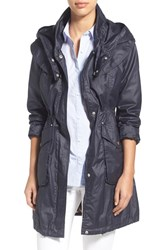 Women's Laundry By Shelli Segal Hooded Waxed Cotton Utility Coat Dark Navy