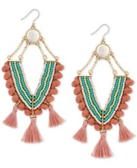 Lucky Brand Gold Tone Bead And Tassel Chandelier Earrings Created For Macy's