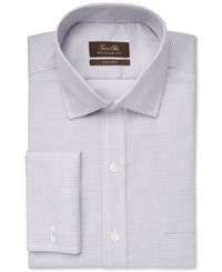 Tasso Elba Non Iron Ice Grey Mini Check French Cuff Dress Shirt Only At Macy's
