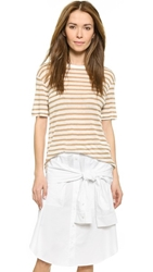 Alexander Wang Striped Rayon Linen Tee Off White And Trench