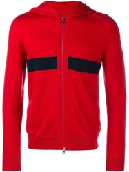 Moncler Knitted Stripe Hoodie Red
