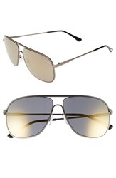 Women's Tom Ford 'Dominic' 60Mm Aviator Sunglasses Matte Gunmetal Smoke Mirror