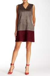 Gracia Faux Suede Colorblock Dress