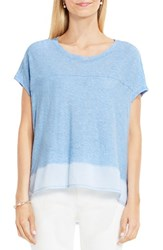 Vince Camuto Women's Two By Mixed Media Step Hem Tee Chambray Heather