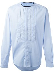 Christian Pellizzari Pleated Bib Shirt Blue