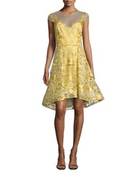 Marchesa Floral Lace Illusion Cocktail Dress Bright Yellow