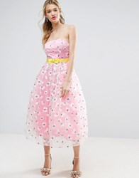 Asos Salon Embroidered Organza Midi Prom With Bow Waist Detail Pink