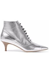 M Missoni Metallic Textured Leather Ankle Boots Silver