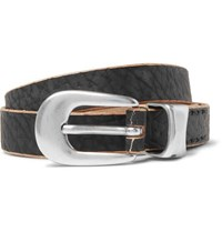 Our Legacy 2Cm Black Distressed Leather Belt Black