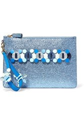 Anya Hindmarch Circulus Large Laser Cut Appliqued Metallic Textured Leather Pouch Blue