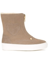 Love Moschino Front Zip Boots Brown