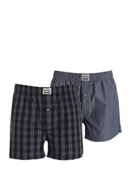 Levi's Underwear 2 Pack Plaid And Chambray Cotton Boxers Blue