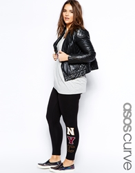 Asos Curve Exclusive Legging With Nyc Print Black