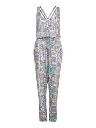 Yumi Sleeveless Patchwork Print Jumpsuit Multi Coloured Multi Coloured