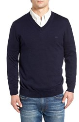 Lacoste Men's Cotton Jersey V Neck Sweater Navy Blue