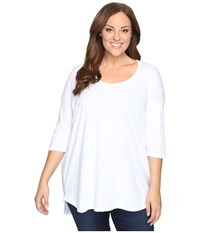 Allen Allen Plus Size Elbow Sleeve Tee W High Low White Women's T Shirt