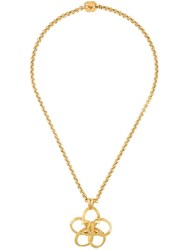 Chanel Vintage 'Cc' Floral Necklace Metallic