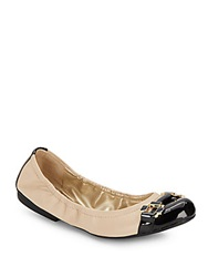 Tahari Gloria Colorblock Leather Cap Toe Flats Buttercup