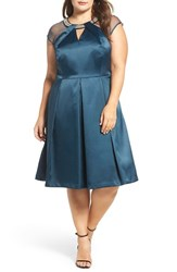 Brianna Plus Size Women's Embellished Fit And Flare Satin Dress