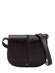 A.P.C. Betty Croc Embossed Leather Bag Chocolat