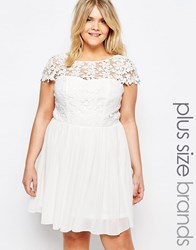 Club L Plus Skater Dress With Crochet Top White