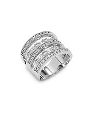 Saks Fifth Avenue Cubic Zirconia Layered Ring Size 6 Rhodium