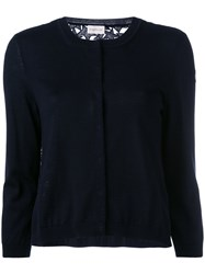 Moncler Star Embroidered Cardigan Blue