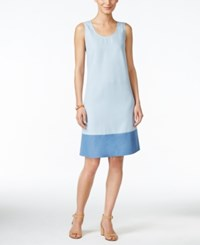 Styleandco. Style And Co. Colorblocked Denim Shift Dress Only At Macy's Ice Wash
