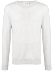 Jil Sander Long Sleeve Fitted Sweater White