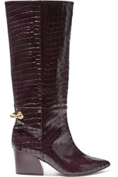 Tibi Rowan Glossed Croc Effect Leather Knee Boots Merlot
