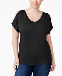 Inc International Concepts Plus Size Cold Shoulder V Neck T Shirt Only At Macy's Deep Black