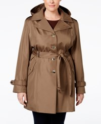 Calvin Klein Plus Size Hooded Single Breasted Trench Coat Truffle