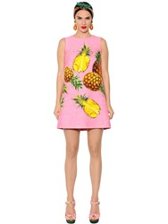 Dolce And Gabbana Pineapples Printed Brocade A Line Dress