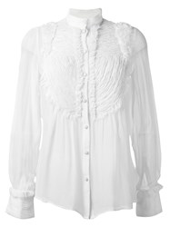 Amen Pleated Bib Shirt White