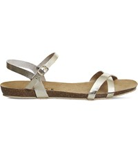 Office Safari Cross Strap Leather Sandals Gold Leather
