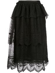 Simone Rocha Mid Length Lace Skirt Black