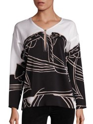 Tory Burch Trocadero Printed Tunic Black White