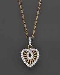 Bloomingdale's Diamond Micro Pave Heart Pendant Necklace In 14K Yellow Gold .25 Ct. T.W. White Gold