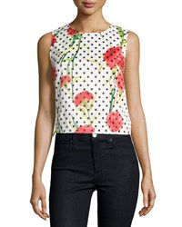 P. Luca Floral Polka Dot Sleeveless Cropped Blouse Wht Floral