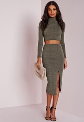 Missguided Longline Thigh Split Ribbed Midi Skirt Khaki Beige