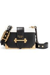 Prada Cahier Small Two Tone Leather Shoulder Bag Black
