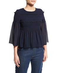 See By Chloe 3 4 Sleeve Embroidered Peplum Top Dark Navy