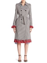 Altuzarra Gingham Ruffle Trench Coat Black White