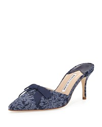 Manolo Blahnik Carolyne Denim 70Mm Mule Blue Size 38.0B 8.0B