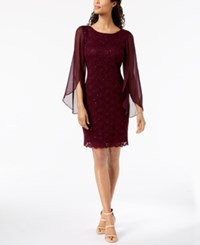 Connected Illusion Angel Sleeve Lace Sheath Dress Plum